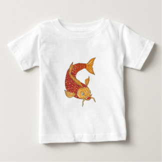 Koi Nishikigoi Carp Fish Swimming Down Drawing Baby T-Shirt