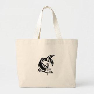 Koi Nishikigoi Carp Fish Woodcut Large Tote Bag