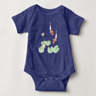 Koi Pond Blue Baby Bodysuit