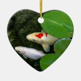 Koi Pond Ceramic Heart Ornament