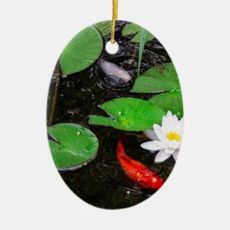 Koi Pond Ceramic Oval Ornament