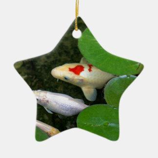 Koi Pond Ceramic Star Ornament