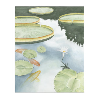 Koi Pond Reflection with Fish and Lilies Acrylic Wall Art