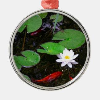 Koi Pond Silver-Colored Round Ornament
