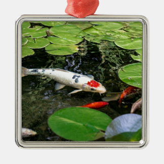 Koi Pond Silver-Colored Square Ornament