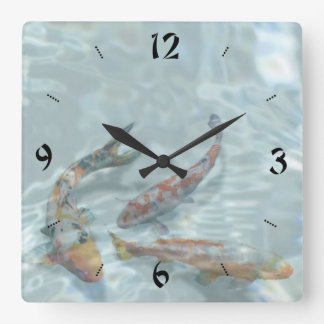 Koi Pond Square Wall Clock