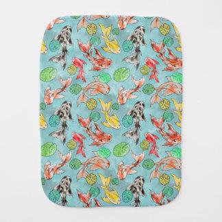 Koi pond watercolors burp cloth