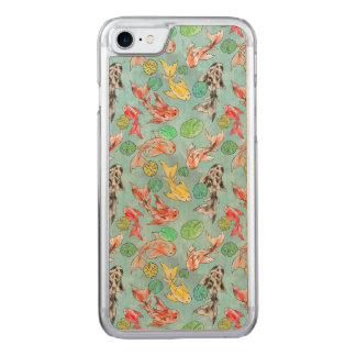 Koi pond watercolors carved iPhone 8/7 case