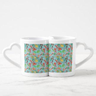 Koi pond watercolors coffee mug set