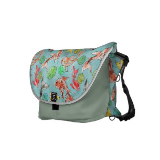 Koi pond watercolors courier bags