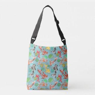 Koi pond watercolors crossbody bag