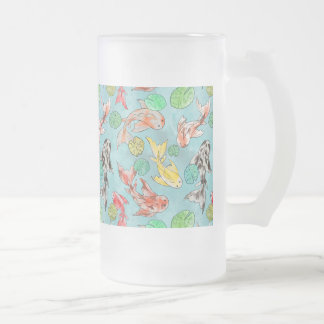 Koi pond watercolors frosted glass beer mug