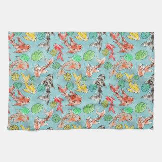 Koi pond watercolors kitchen towel