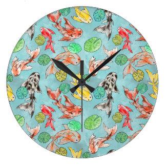 Koi pond watercolors large clock