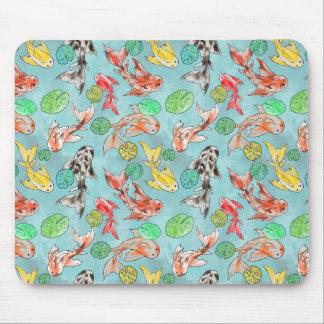 Koi pond watercolors mouse pad