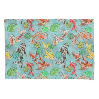 Koi pond watercolors pillowcase