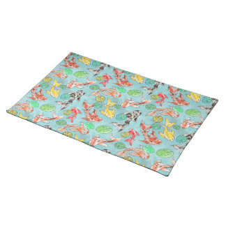Koi pond watercolors placemat