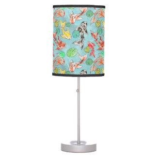 Koi pond watercolors table lamp
