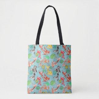 Koi pond watercolors tote bag