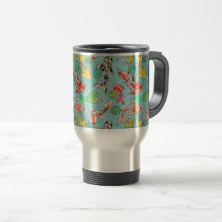 Koi pond watercolors travel mug