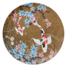Koi Pond - wood - Japanese Design Plate