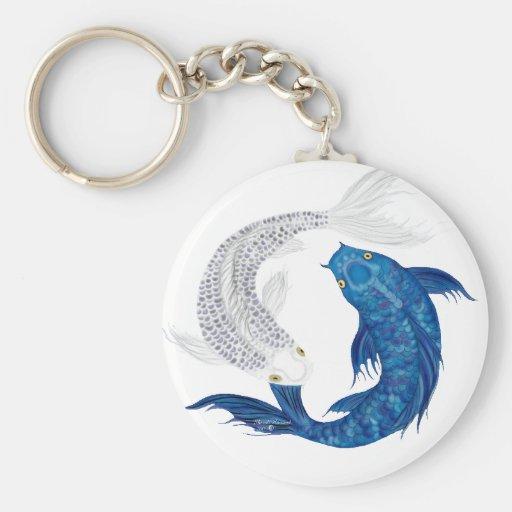 Koi Regal Blue Ghost silver Keychain