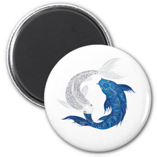 Koi Regal Blue Ghost silver 2 Inch Round Magnet