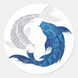 Koi Regal Blue Ghost silver Round Sticker