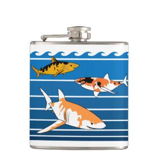 Koi Sharks Hip Flask