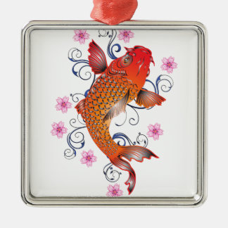 Koi Silver-Colored Square Ornament