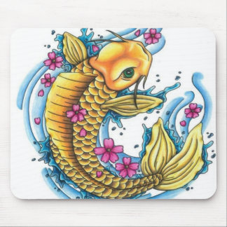 Koi with Cherry Blossoms Mouse Pad