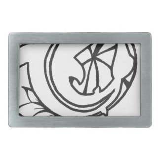 Koi with Lilly Pad Ink Drawing Rectangular Belt Buckle