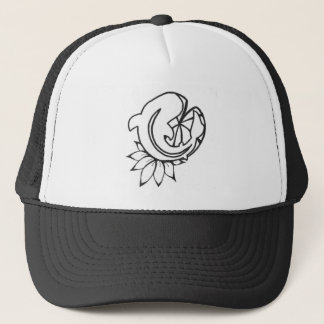 Koi with Lilly Pad Ink Drawing Trucker Hat