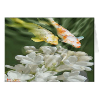 """""""Koi with White Flowers"""" Card"""