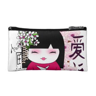 Kokeshi , こけし, Japanese doll Cosmetic Bag