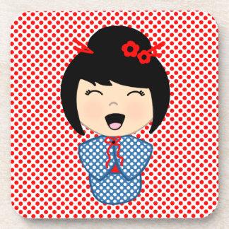 Kokeshi Doll 1 coasters with cork back - set of 6