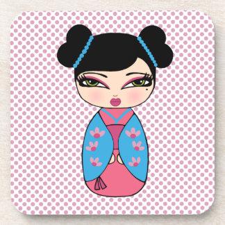 Kokeshi Doll 2 coasters with cork back - set of 6