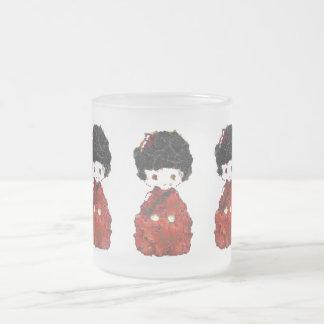 Kokeshi Doll Art Frosted Glass Coffee Mug