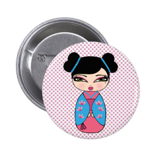 Kokeshi Doll Blue, 2¼ Inch Round Button