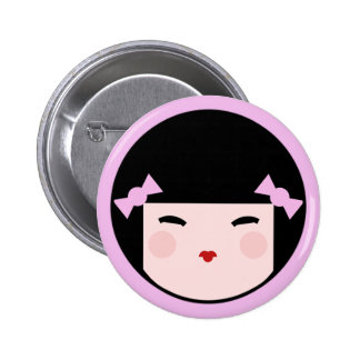 Kokeshi Doll Face Button Badges