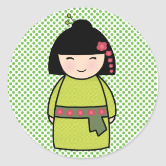 Kokeshi Doll Glossy, 3 inch (sheet of 6) Sticker