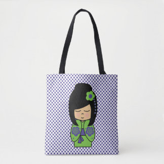 Kokeshi Doll Green Purple  All-Over-Print Tote Bag