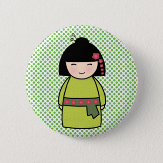 Kokeshi Doll Green Standard, 2¼ Inch Round Button
