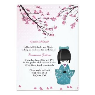 Kokeshi Doll Invitation