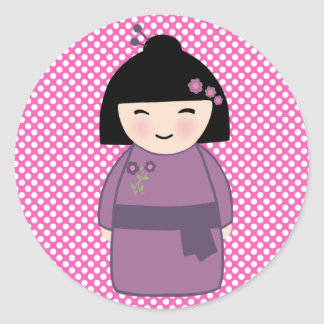 Kokeshi Doll Sticker, Glossy, 3 inch (sheet of 6) Classic Round Sticker