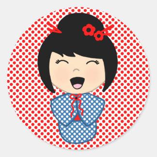 Kokeshi Doll Sticker, Glossy, 3 inch (sheet of 6) Round Sticker