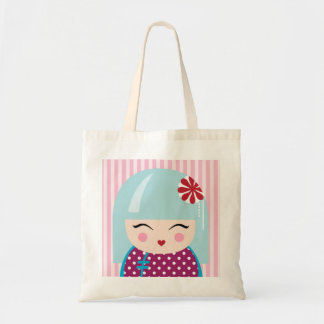 Kokeshi girl tote bag