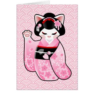 Kokeshi Maneki Neko Japanese Lucky Cat Maiko Card