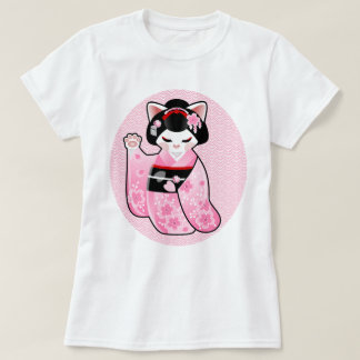 Kokeshi Maneki Neko Japanese Lucky Cat Maiko T-Shirt