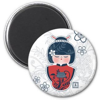 kokeshi navy white red 2 inch round magnet